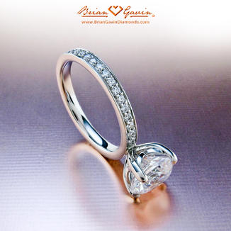 Truth Micro Pave Eternity Diamond Engagement Ring in Gold or Platinum