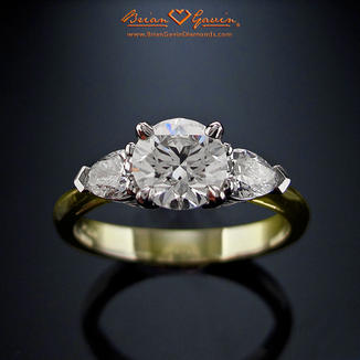 Three Stone Trellis Engagement Ring Brian Gavin Diamonds