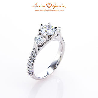 Aphrodite Three Stone Engagement Ring with Pave
