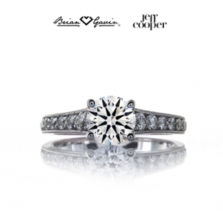 Platinum Six Prong Regal Truth Engagement Ring Pave