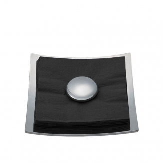Stone Napkin Holder With Black Napkins - Alloy