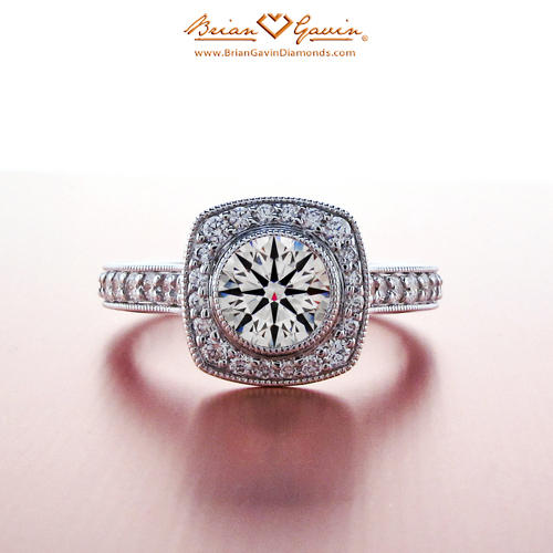 Square Round Halo Engagement Ring