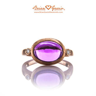 Oval Cab Amethyst Halo 14K Rose Gold