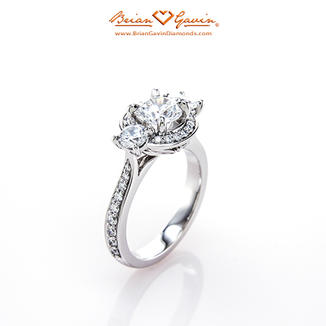 Venus Three Stone Halo Engagement Ring