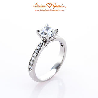 Gaia Solitaire Ring with Channel Pave
