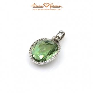 Oval Random Cut Green Quartz Silver