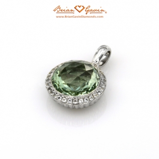 Round Pineapple Cut Green Quartz Silver