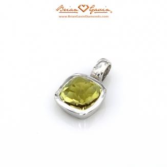 Square Pyramid Cut Lemon Quartz Silver