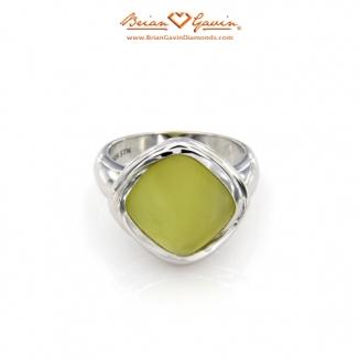 Square Matte Lemon Quartz Silver