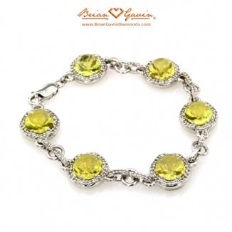 Round Cab Lemon Quartz Silver