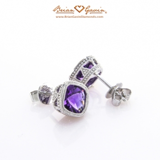 Cushion Checkered Amethyst Studs