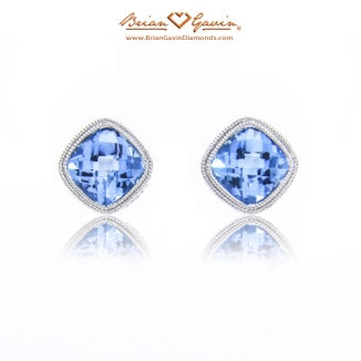 Cushion Checkered Blue Topaz Studs