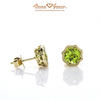 Cushion Checkered Peridot Studs