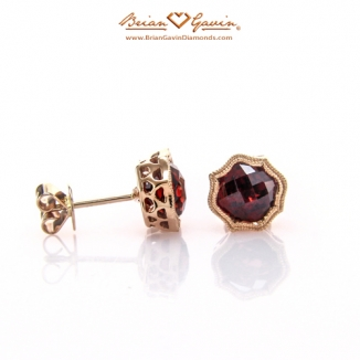 Cushion Checkered Garnet Studs