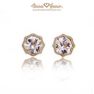 Cushion Checkered Morganite Studs