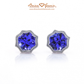 Cushion Checkered Tanzanite Studs
